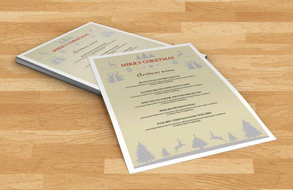 Christmas Menu Template Instant Download