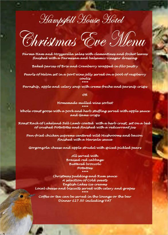 Christmas Menu Template Sample Download