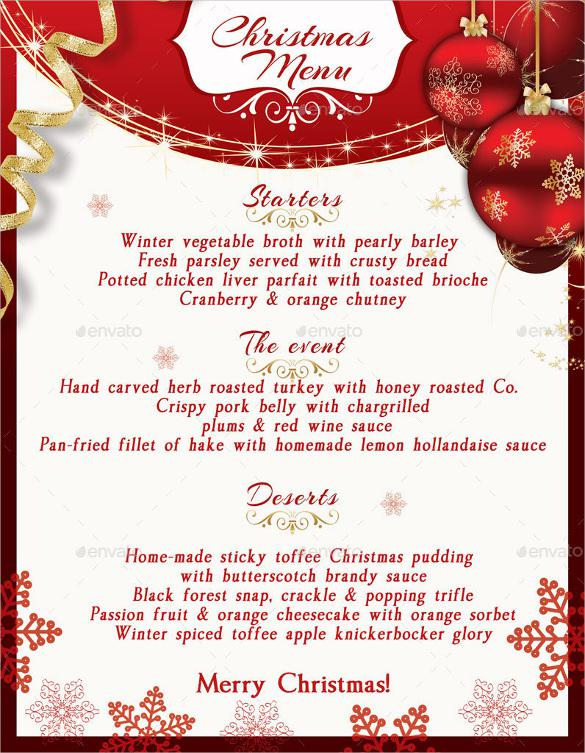 11 christmas menu samples free download