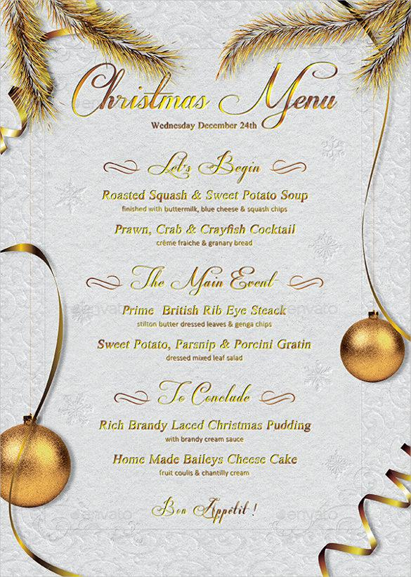 Christmas Menu Template Vector EPS Format