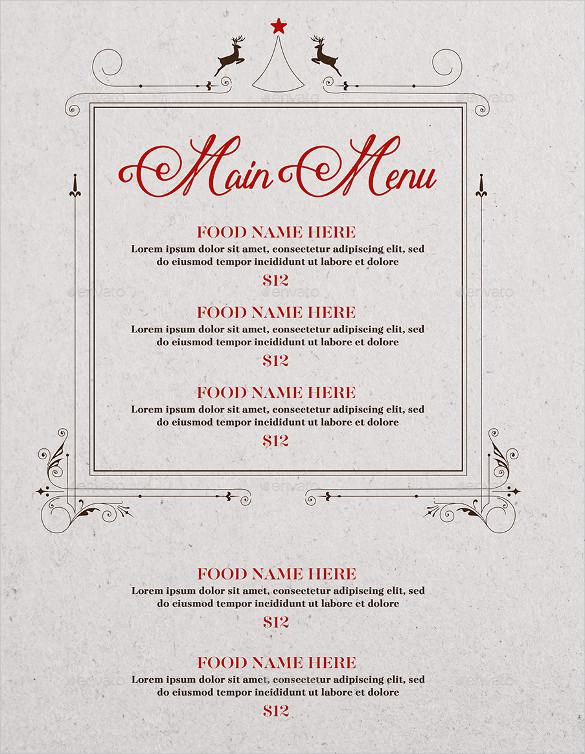 Christmas Menu Vector EPS Format