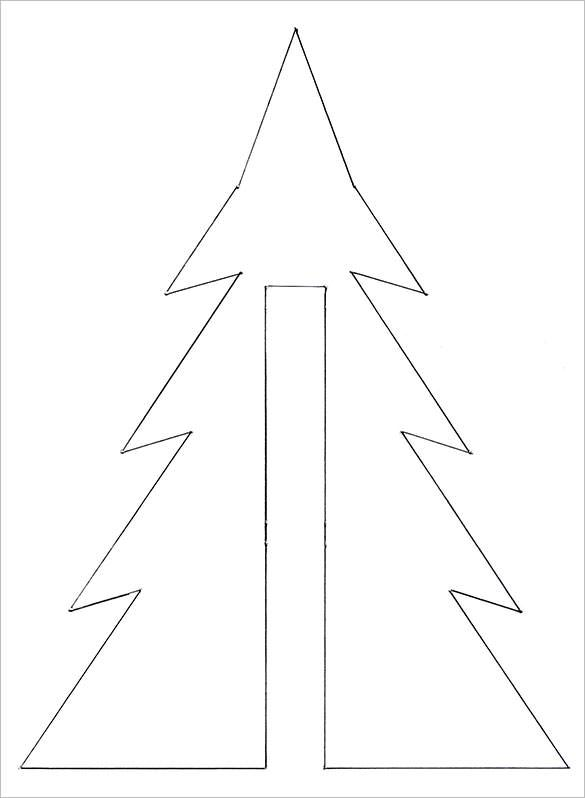 Christmas Tree Template Coloring for Children