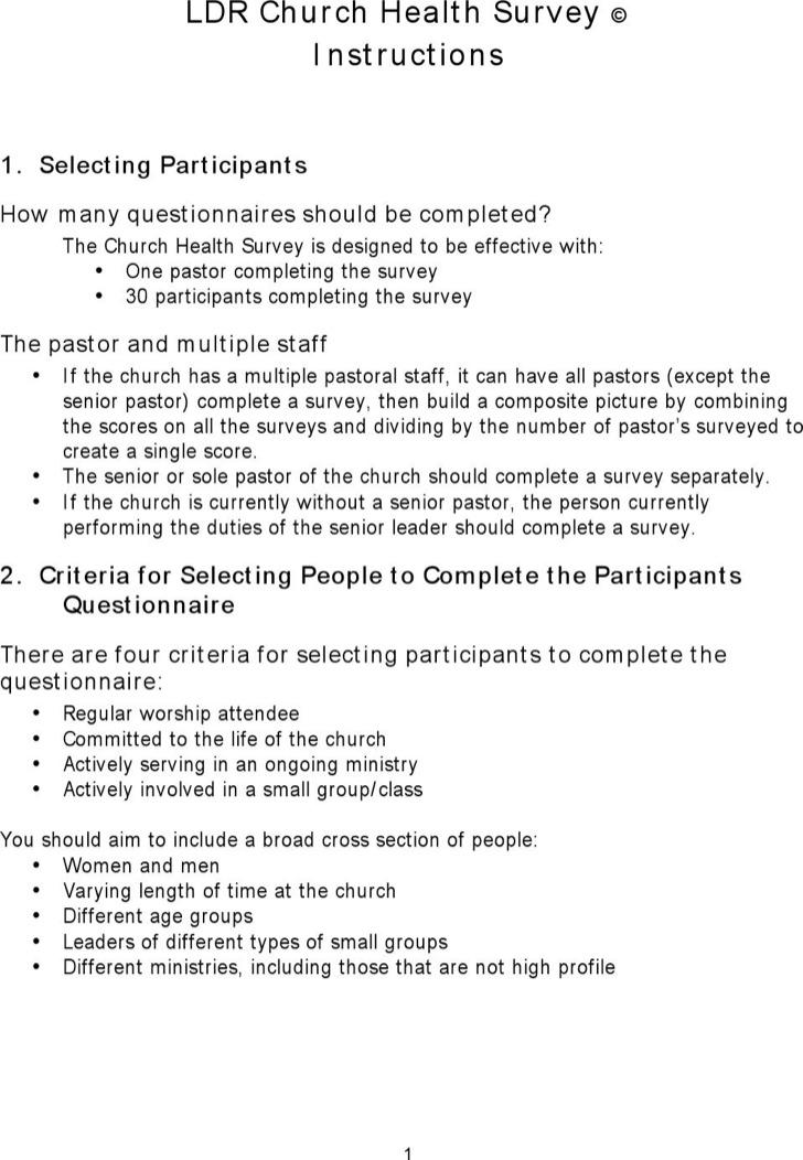 Church Health Survey Template