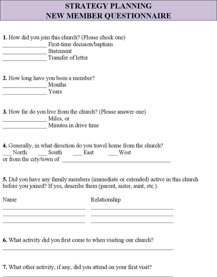 Church Survey Questionnaire Template Pdf
