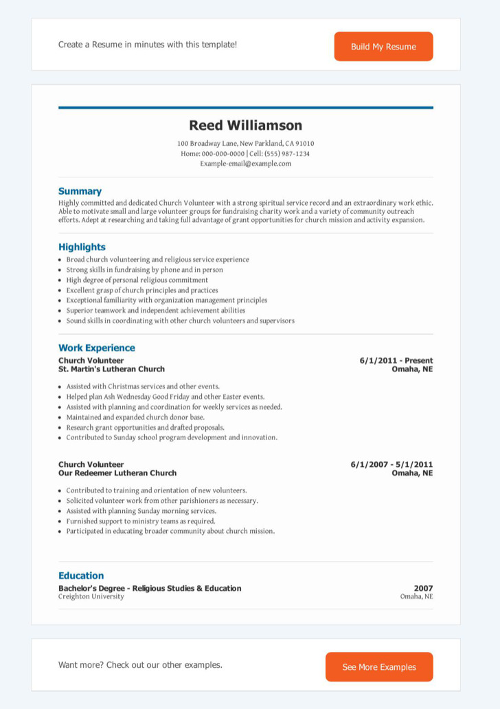 Church Volunteer Resume