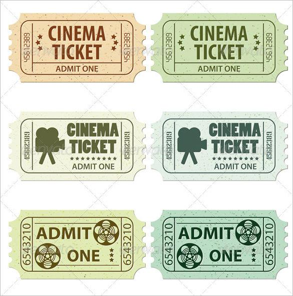 Cinema Ticket Template 6 Designs