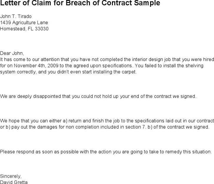 Claim Letter Sample