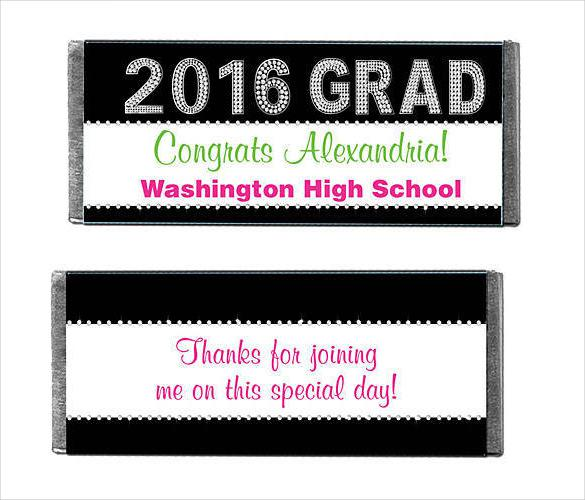 Class of 2016 Bling Personalized Candy Bars Wrapper