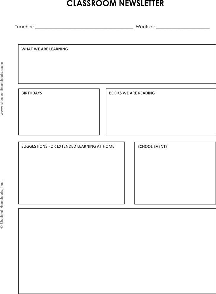 Classroom Newsletter Template 3
