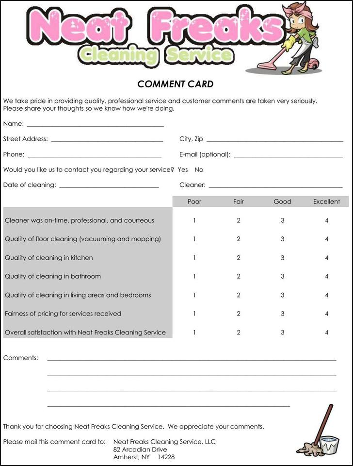 Cleaning Service Comment Card PDF Free Template