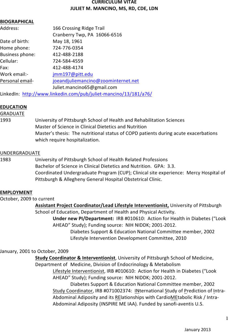 Clinical Dietitian Resume