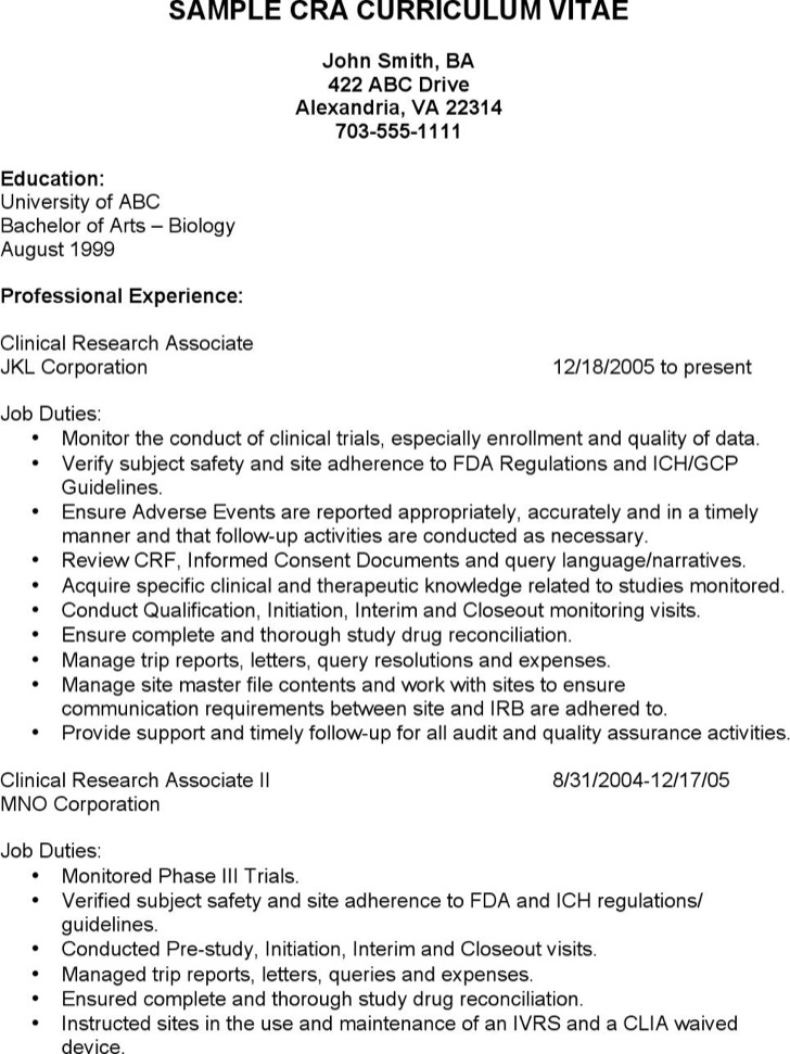 Clinical Research Assistant Resume