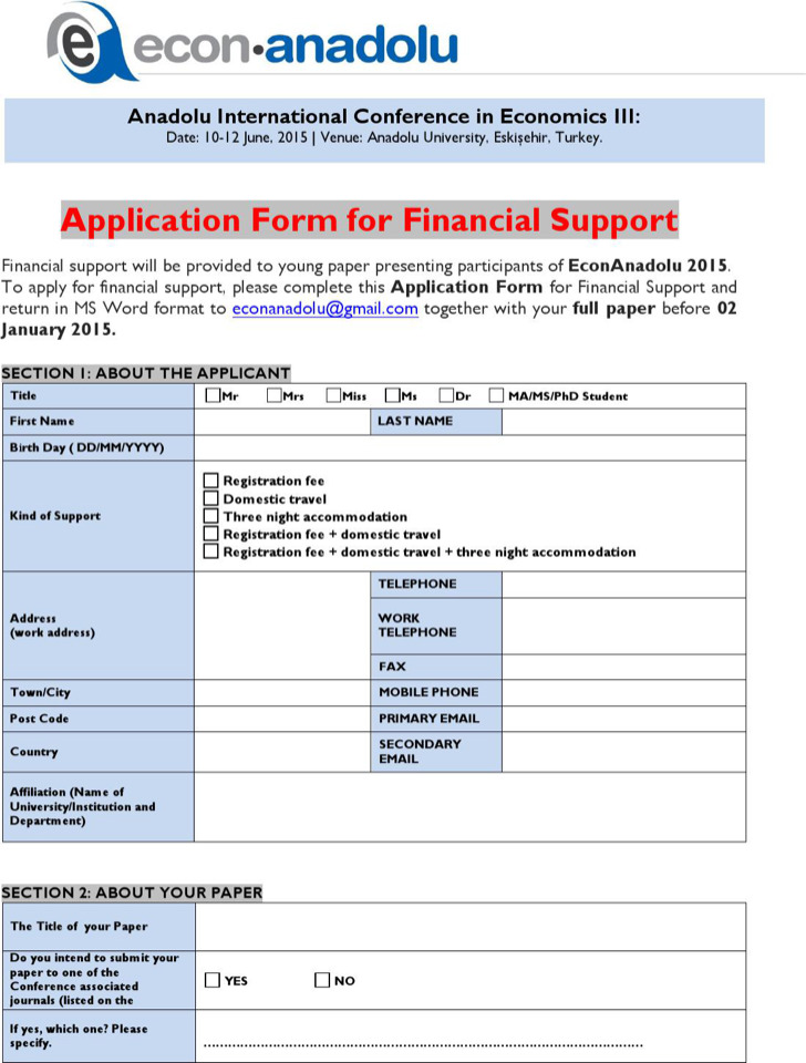 Club Application Form For Financial Support Sample Download