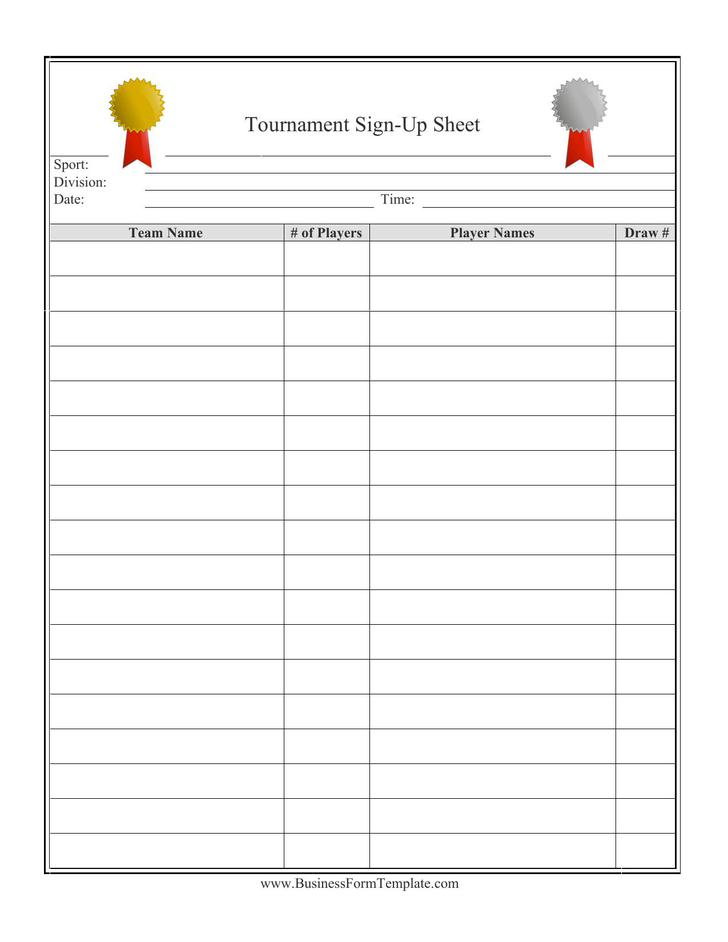 Club Tournament Signup Sheet Template