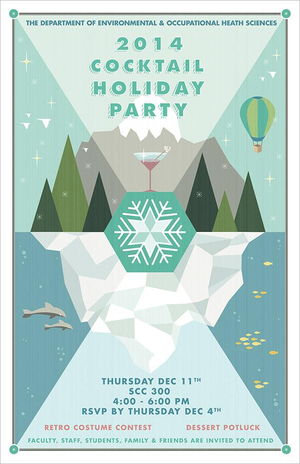 Cocktail Holiday Party Flyer Template