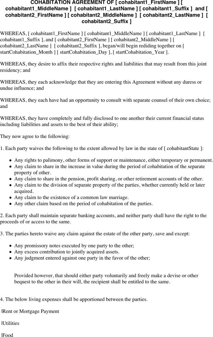 Cohabitation Agreement 2