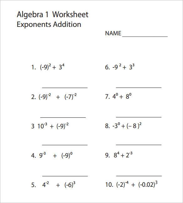 College Algebra 1 Worksheet Template