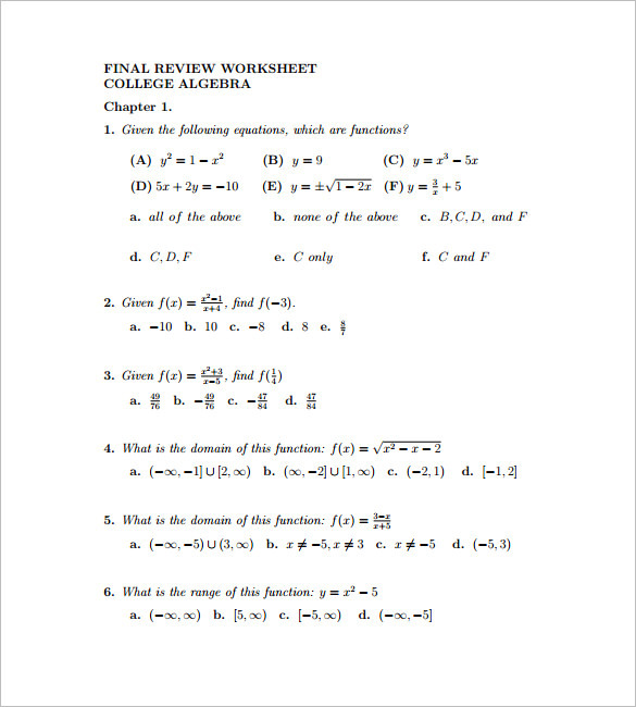 10 college algebra worksheet templates free download. Black Bedroom Furniture Sets. Home Design Ideas