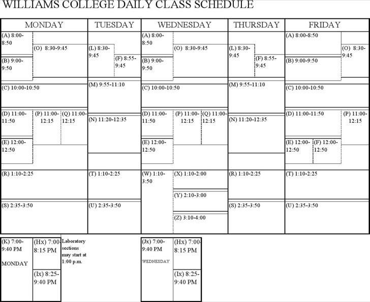 College Daily Class Schedule