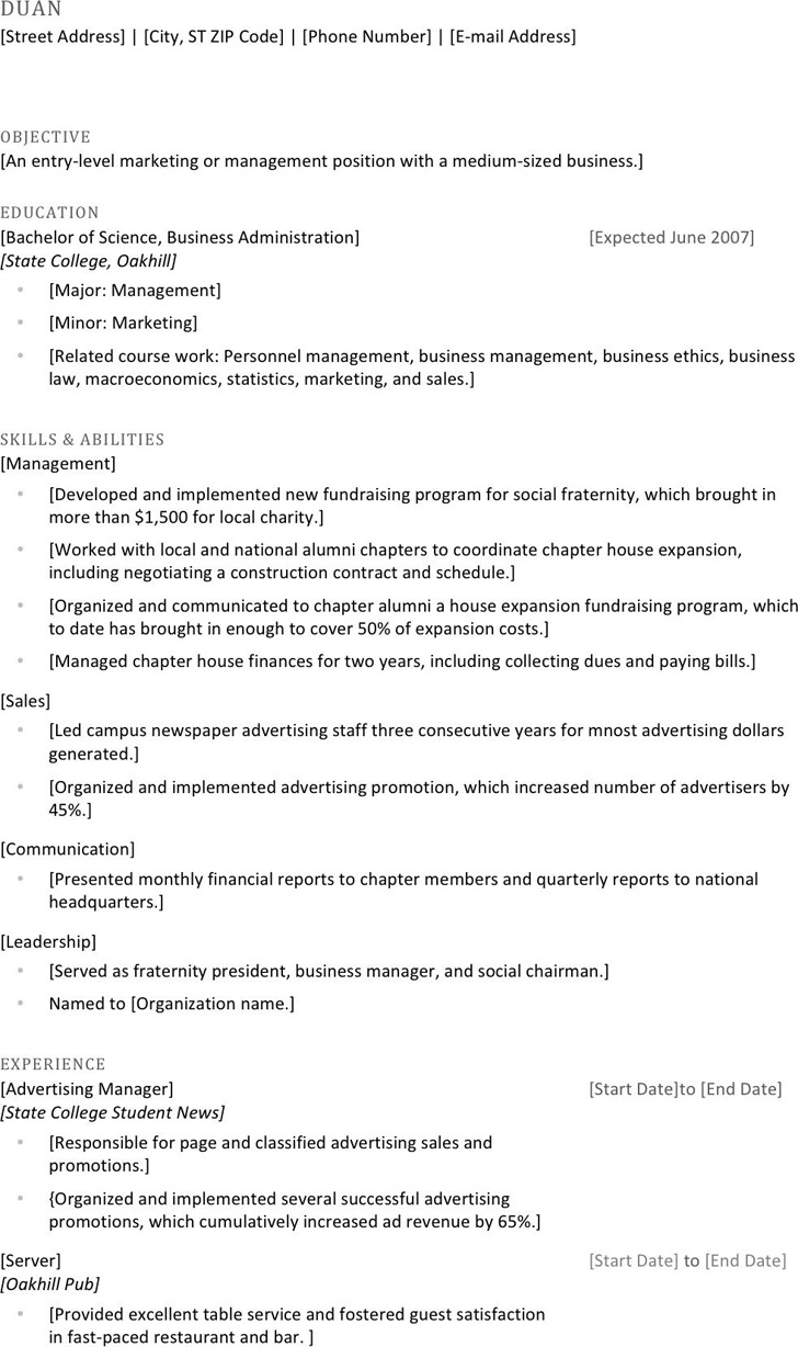 College Resume Template 1