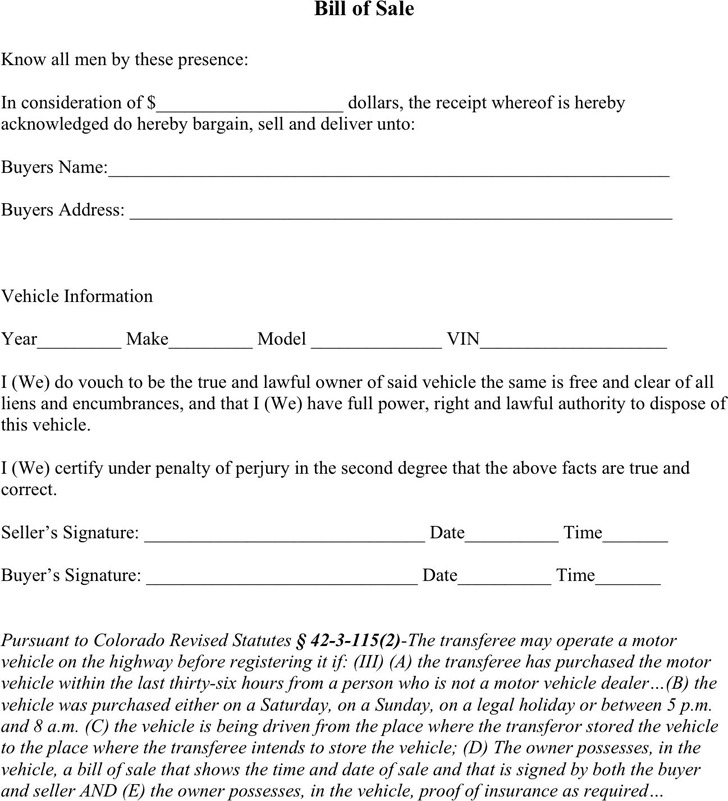 download colorado bill of sale form for free tidytemplates