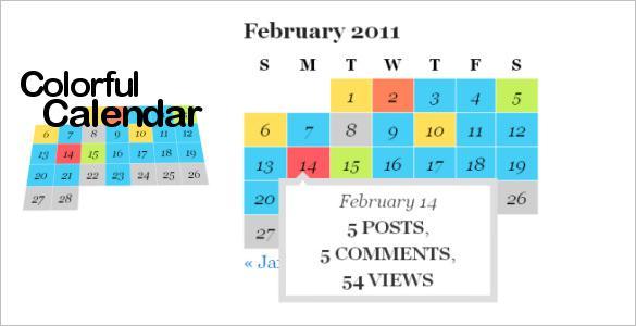 Colorful HTML Calendar
