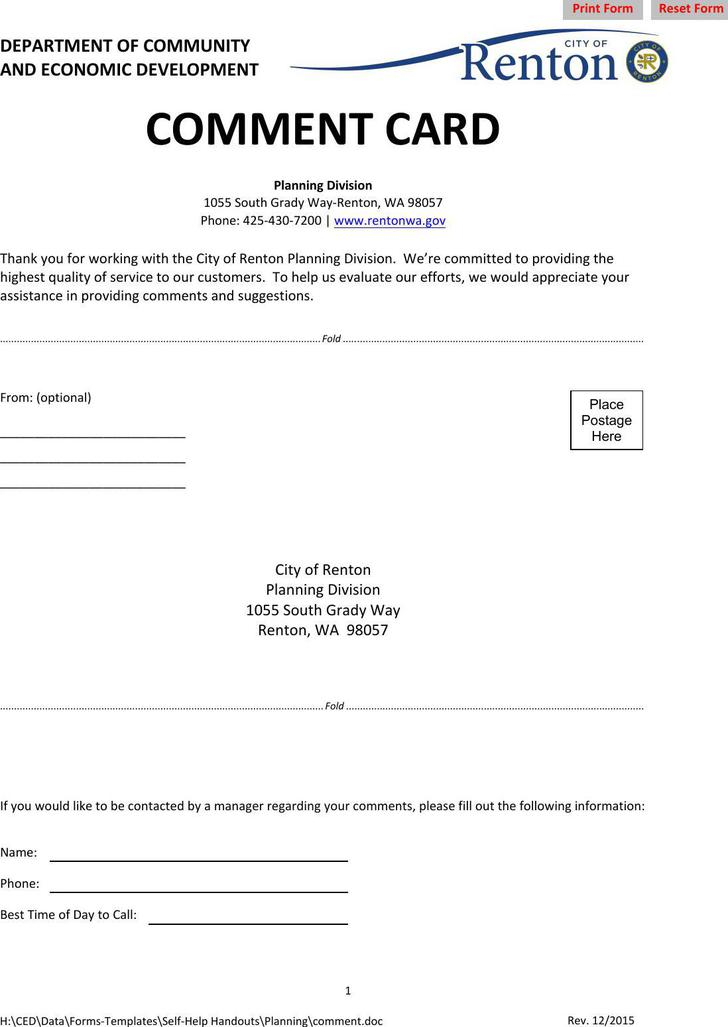 Comment Card Free PDF Format Download