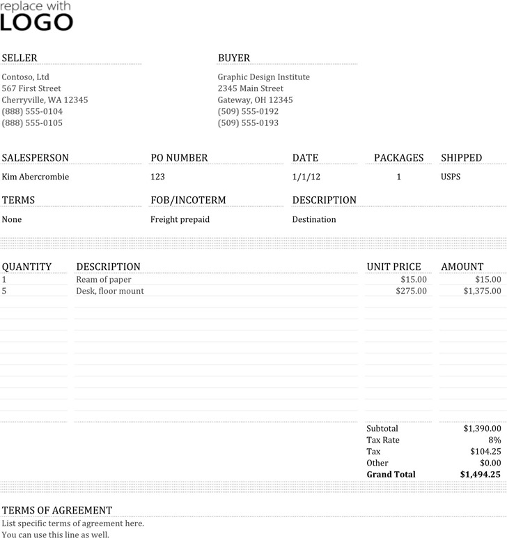 5 Commercial Invoice Template Free Download