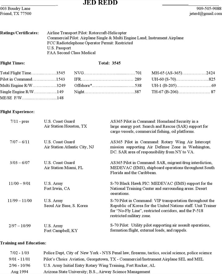 Commercial Pilot Resume