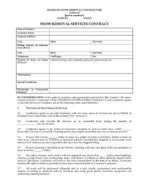 Commercial Snow Plow Contract Template