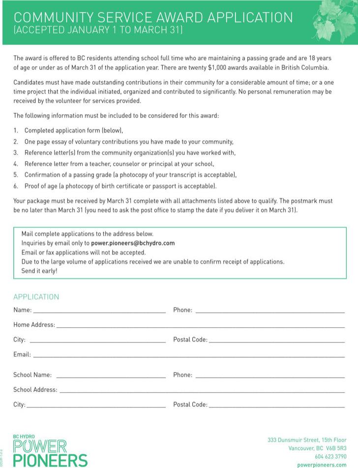 Community Service Award Application Template