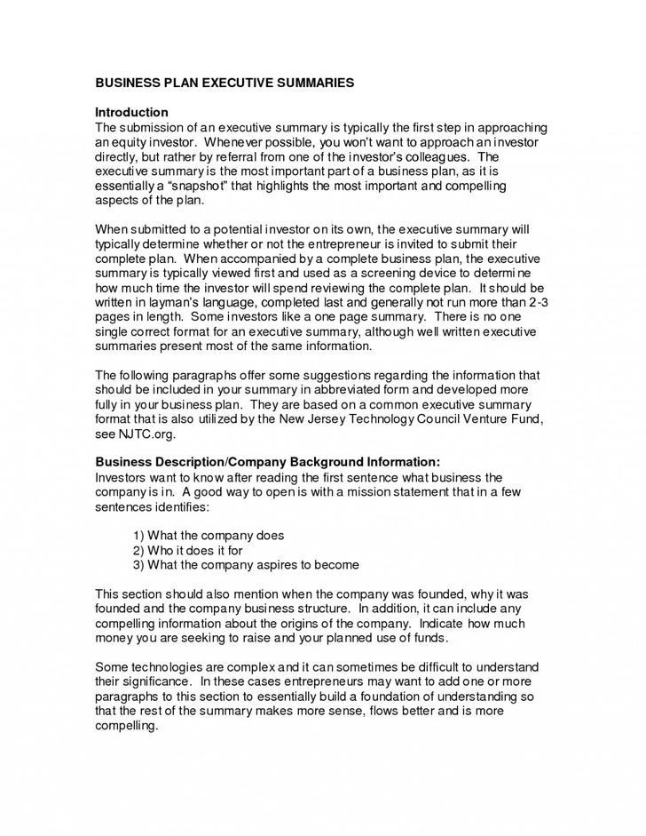 Company Executive Summary Template