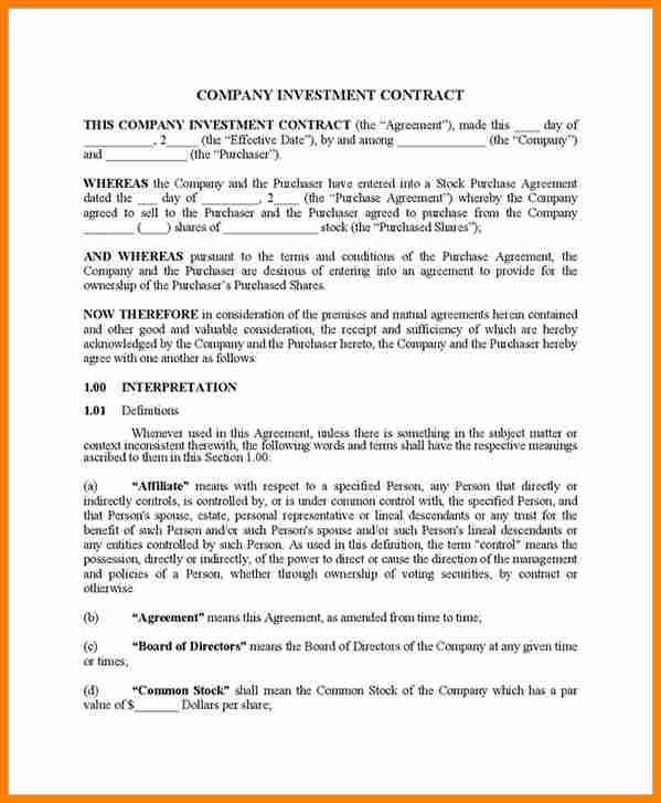 8 Investment Contract Templates Free Download