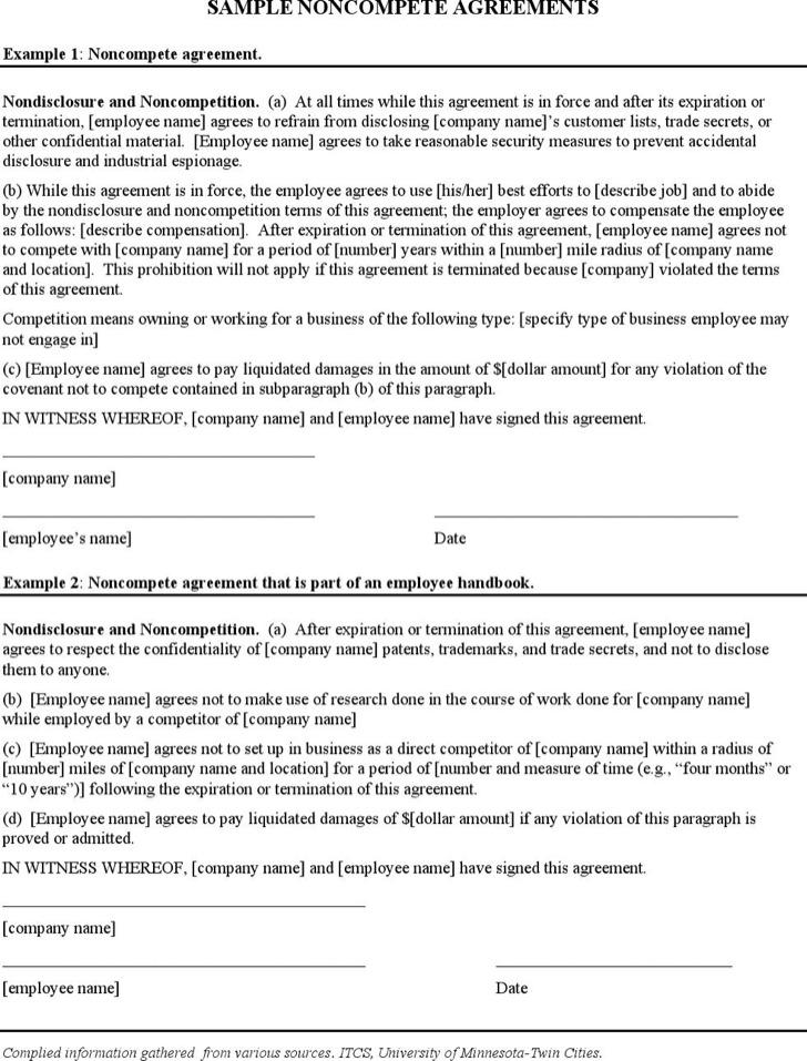 Company Non Compete Agreement Form