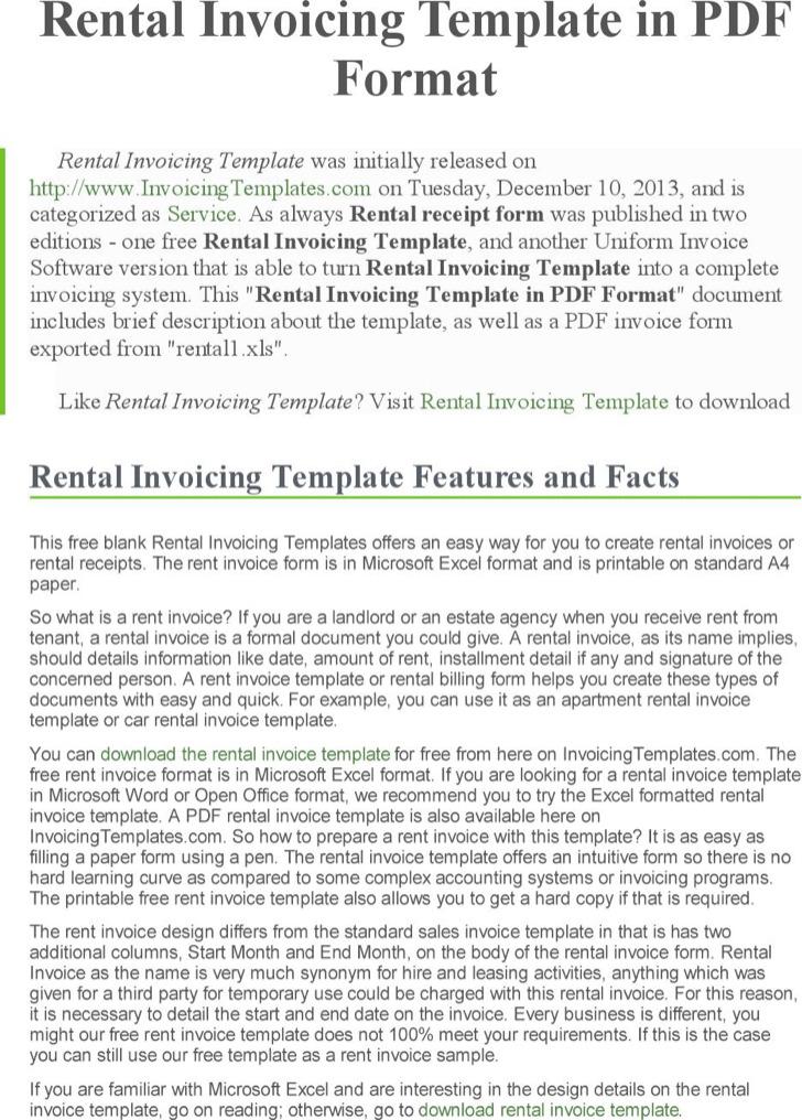 Company Rental Invoice Template