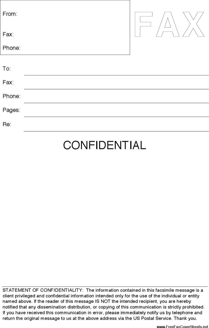 Confidential Fax Cover Sheet Template