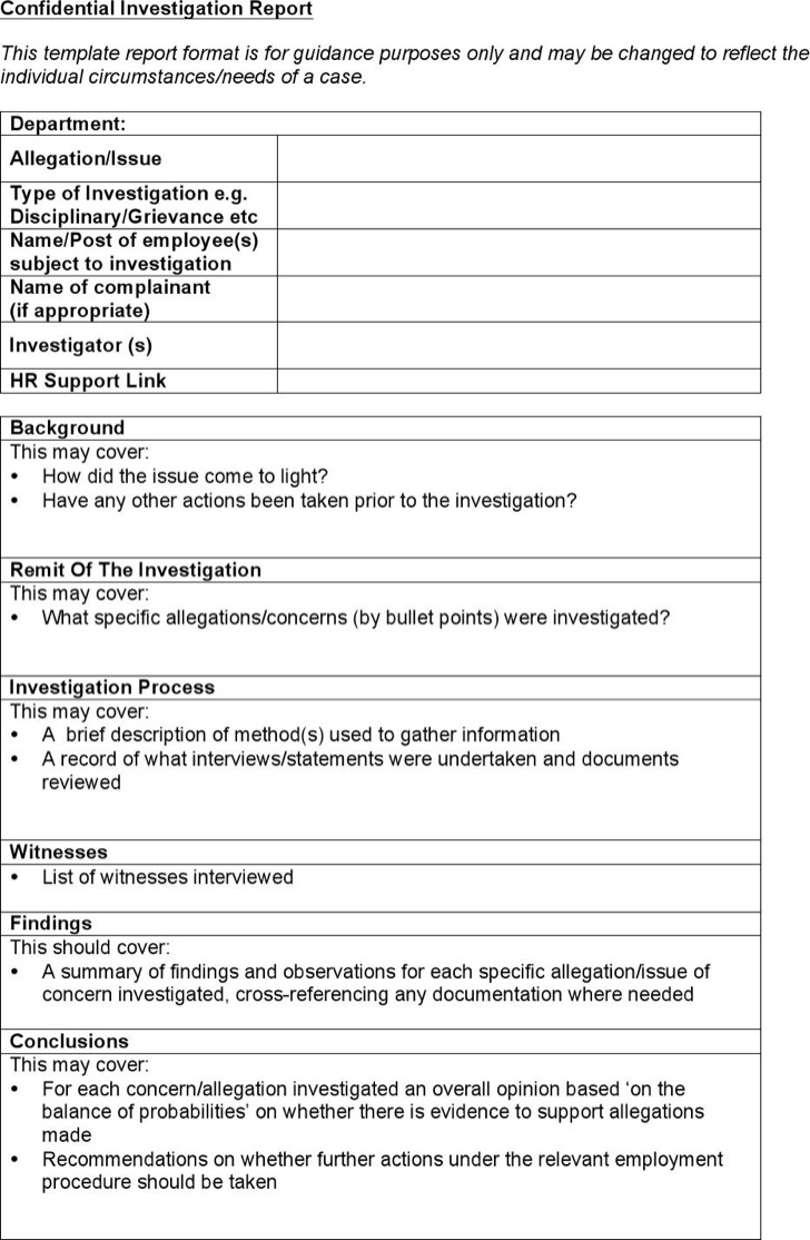 Confidential Investigation Report Form Template
