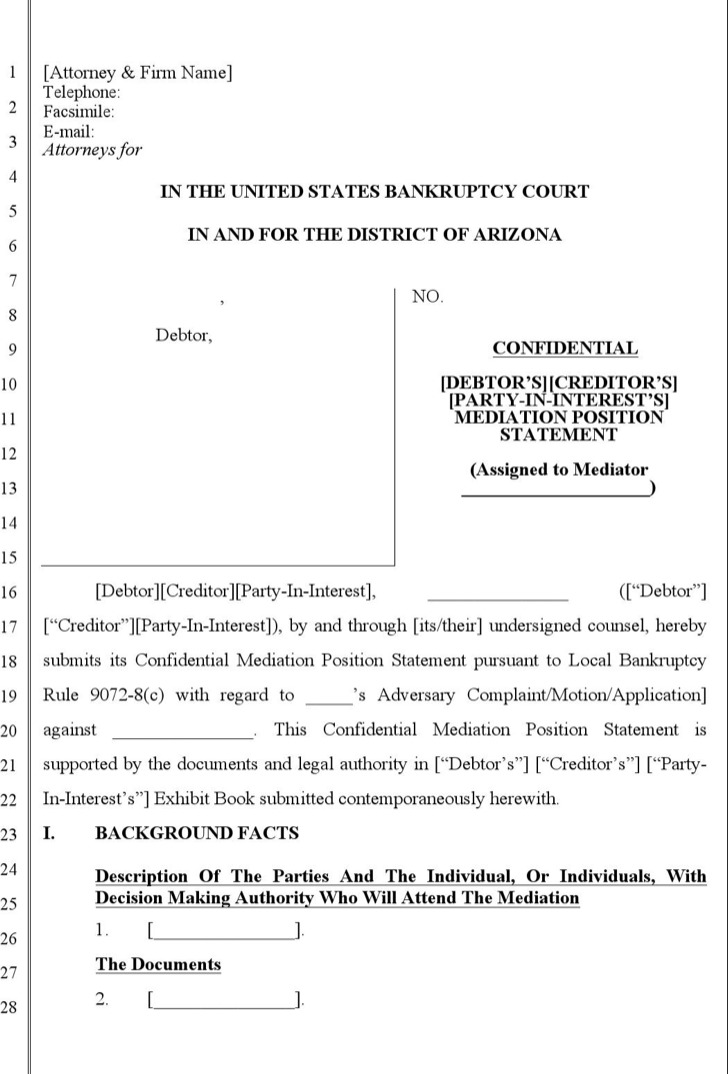 Confidential Mediation Position Statement Template