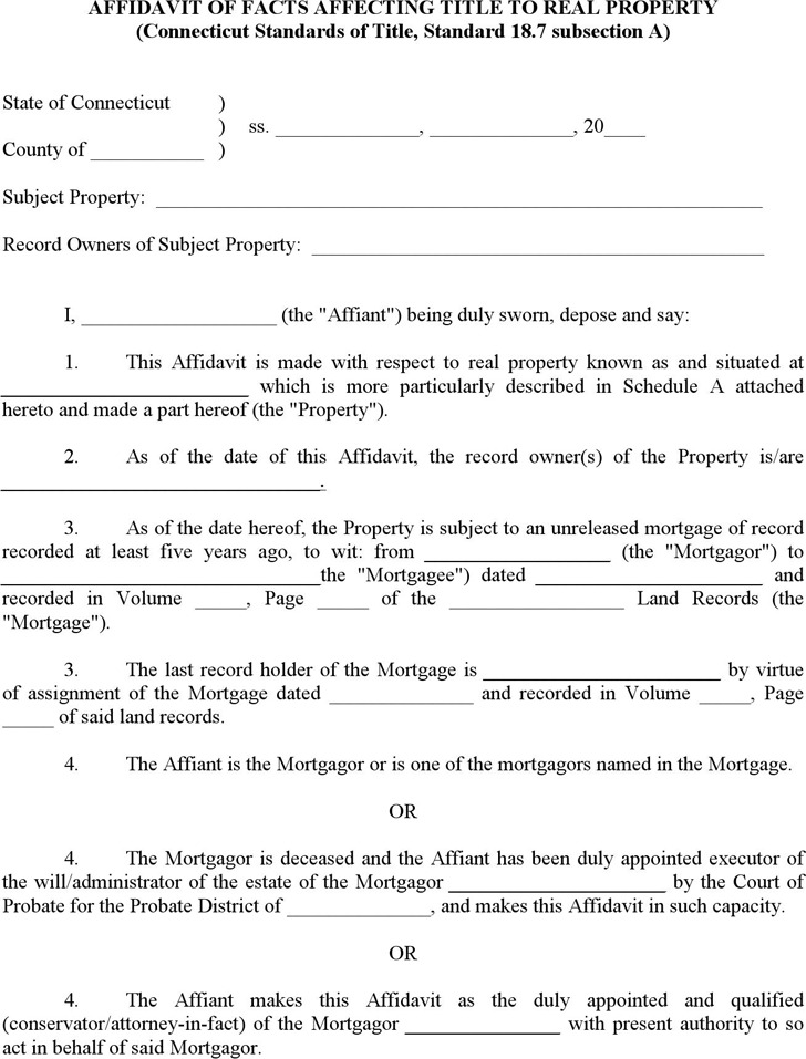 Download Connecticut Affidavit of Facts Affecting Title to Real
