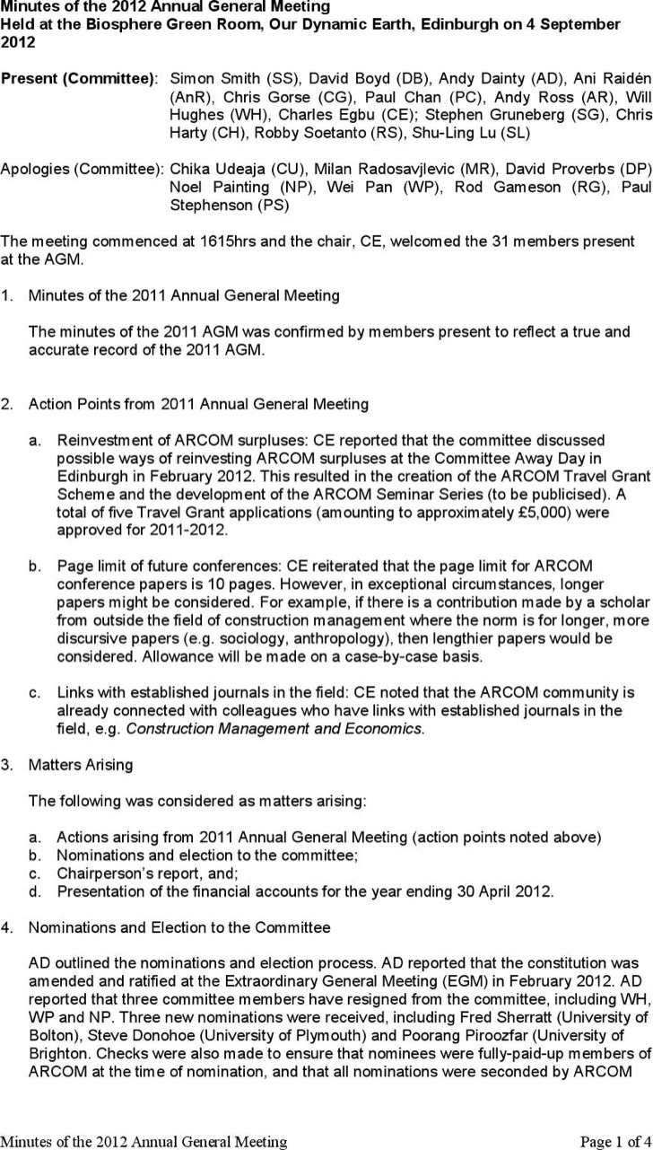 Construction Company Annual General Meeting Minutes Template