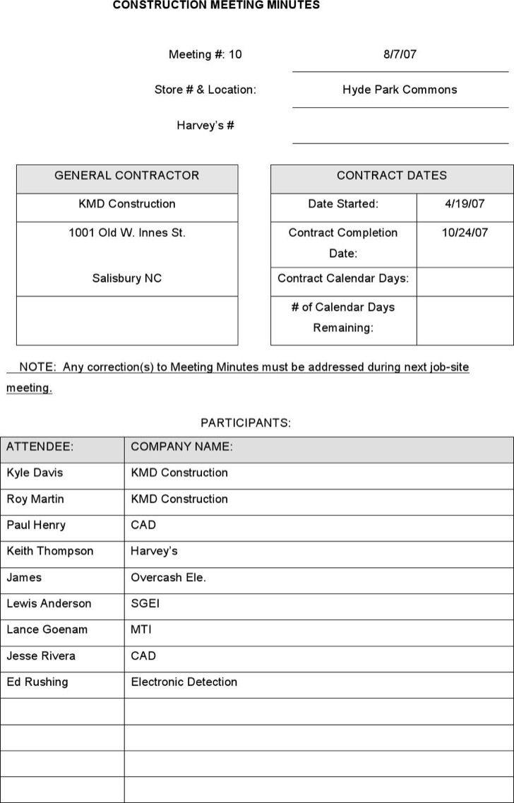 Construction Project Meeting Minutes Template Download