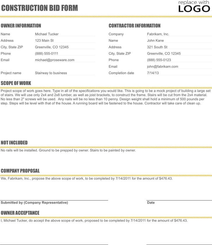 Construction bid Form