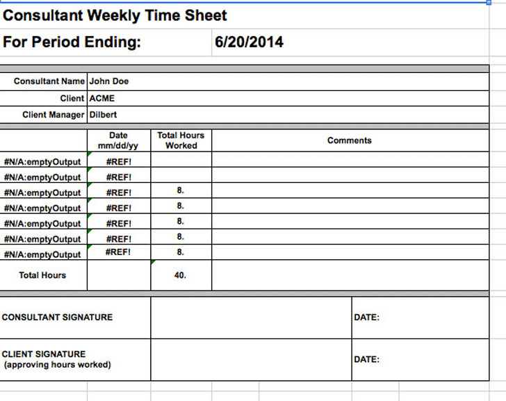 Consultant Weekly Time Sheet