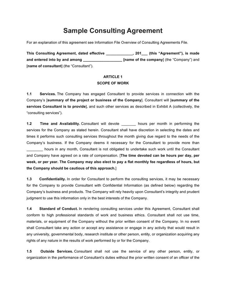 Consulting Contract Template Free Download Example