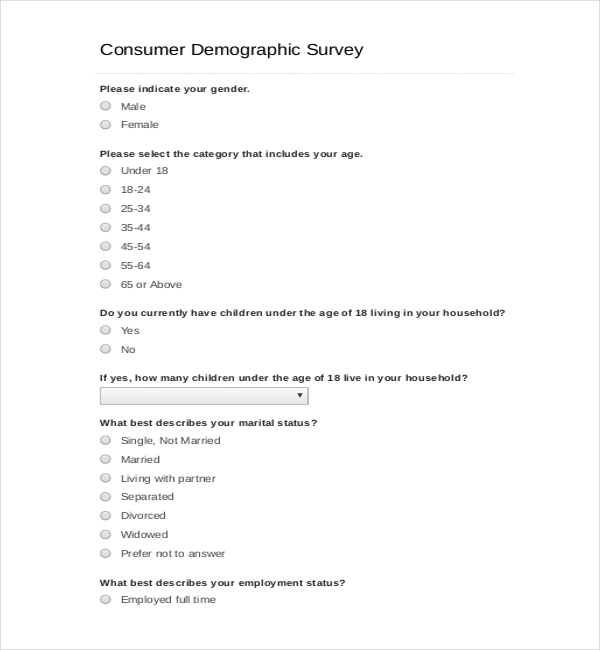 Consumer Demographic Survey Template PDF