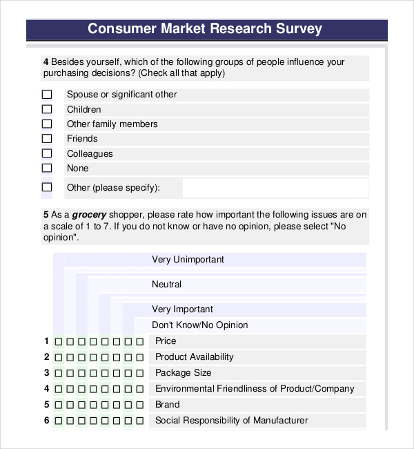 Consumer Product Market Research Survey PDF Template