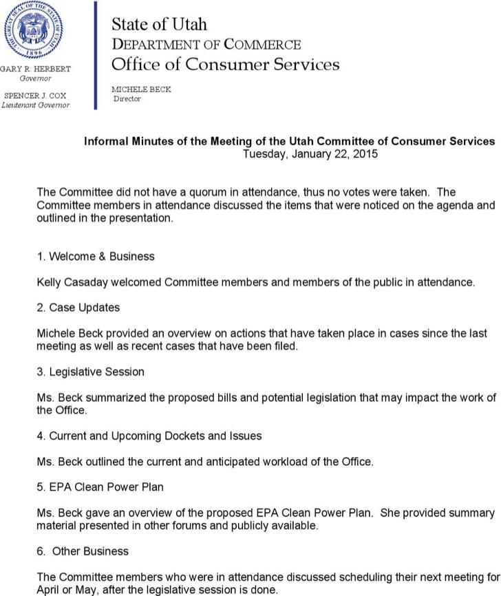 Consumer Service Informal Minutes