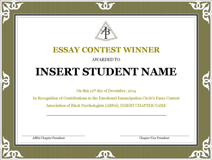 Contest Winner Certificate Template