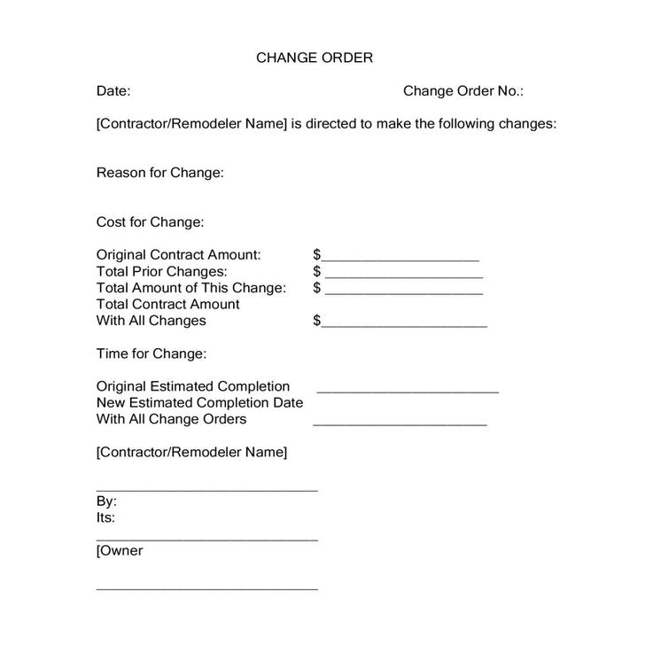 11 Change Order Template Free Download