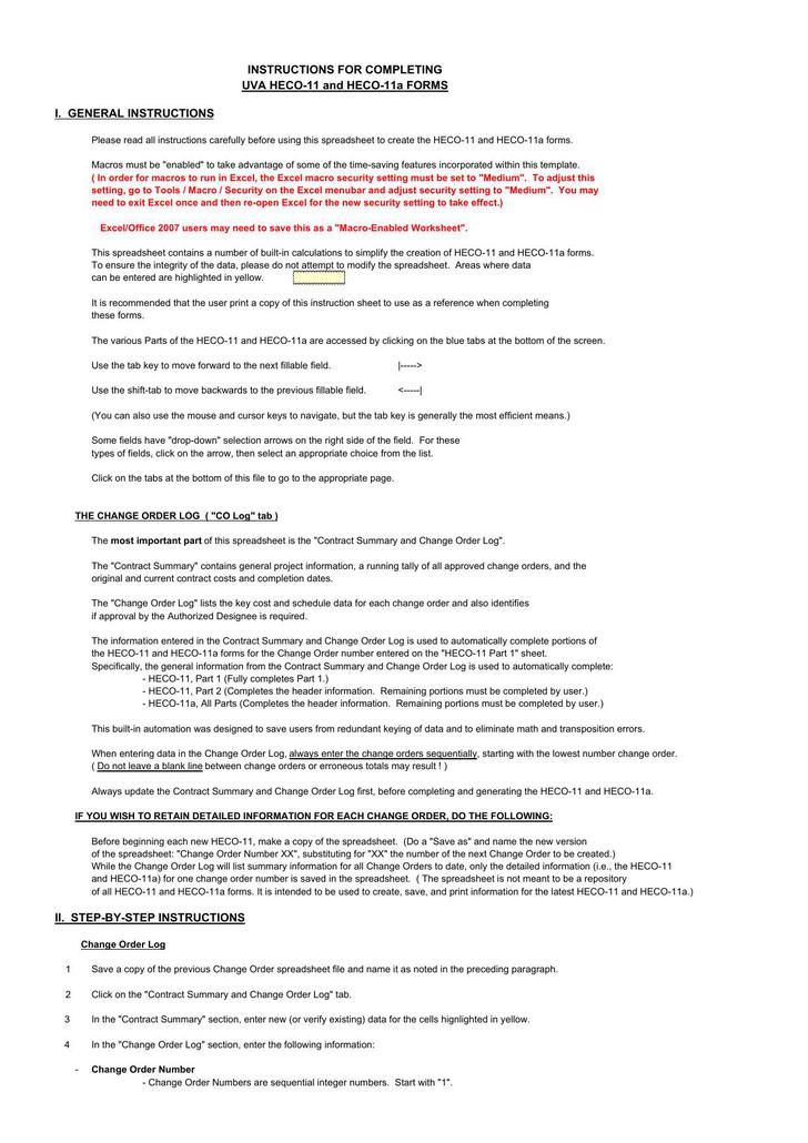 Download Contract Summary Change Order Excel Template For Free